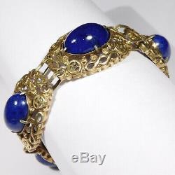 Bracelet Orné De Lapis Chinois Antique En Argent Doré