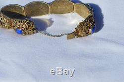 Bracelet Orné De Lapis Chinois Doré Sur Argent Filigrané