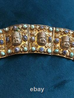 Bracelet Renaissance Chinois Vintage Turquiose Et Pierres Lapis. Gilt D'argent