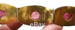 Bracelet Sculpté À La Tourmaline Rose En Argent Massif Doré, Émaux Chinois