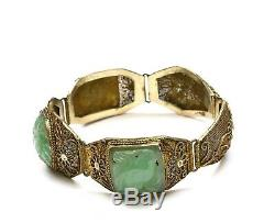 Bracelet Sculpté Sculpté Mk En Filigrane D'argent Massif Chinois Jade Jade