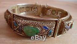 Bracelet Vintage Chinois En Jade Et Émail Doré Et Doré