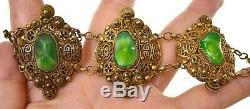 Bracelet Vintage En Argent Doré Avec Perles Sculptées, Prehnite De Chine (pas Jade Ou Jadeite)