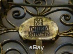 Broche Ancienne Chinoise En Filtre Doré Argent Argent Avec Pierres Semi-précieuses