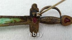 Broche Antique Chinoise D'épée De Tourmaline Rouge De Jadeite D'argent Doré