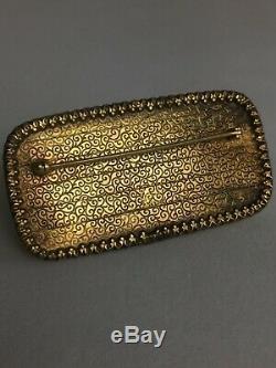 Broche Antique En Argent Doré Très Ciselé Et Cinabre, Chine