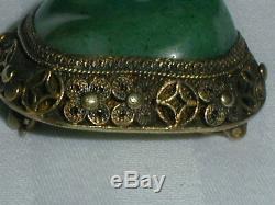 Broche Antique En Jade D'argent Chinois - Domaine