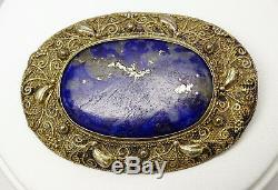 Broche Antique En Lapis-lazuli En Filigrane D'argent Chinois, Chine
