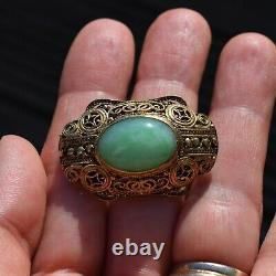 Broche Chinoise Antique De Filigrane Faite À La Main D'argent Doré Avec Jade 50's