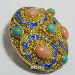 Broche D'exportation Chinoise Vintage, Pin, Corail, Turquoise, Argent Sterling, Or Gilt