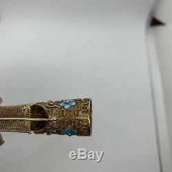 Broche De Garde Clou Corail Antique En Émail Doré Argent Filigrane Chinois Doré Turquoise