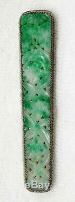Broche En Perles De Jade Jadéite En Jade Jadéite Sculptée En Argent Doré Avec Filigrane