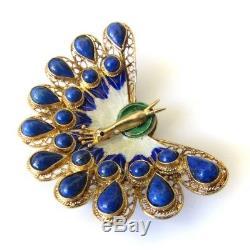 Broche Paon Émaillée En Argent Sterling Doré Avec Exportation Chinoise Et Lapis Lazuli