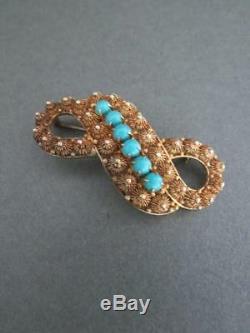 Broche Vintage Chinoise En Filigrane Turquoise Avec Argent Doré