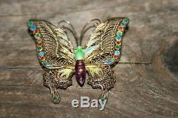 Broche Vintage En Argent Émaillé Papillon Doré Chinois Doré Signé Rare