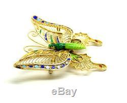 Broche Vintage Vintage Chinois Papillon Émail Cloisonné Émail Or Doré