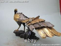 Bronze 100% Pur Chinois 24k Or Argent Sculpté Phoenix Peacock Royal Statue Royale