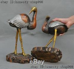 Bronze Chinois Ancien Doré Longévité En Argent Grue À Couronne Rouge Statue D'oiseau Paire A