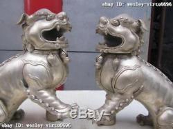 Bronze Chinois Bronze Doré Palais Bête Feng Shui Evil Door Foo Fu Chien Lion Paire