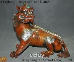 Bronze Chinois Or 24k Or Statue De Bête Pixiu Licorne En Argent Doré Turquoise Turquoise