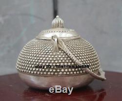 Bronze De 13 CM En Bronze Chinois Doré Dragon Play Bouteille De Vin Pot Théière Flagon Stoup