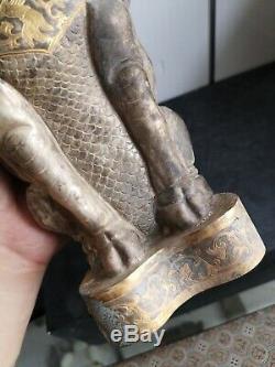 Bronze Doré Tombeau Gardien Corne Longue Tombe Corne Gardien Veine Oiseau Bête