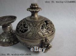 Bronze Pur Chinois Foo Argent Chien Poisson De Poisson Lotus Encensoir Brûleur D'encens