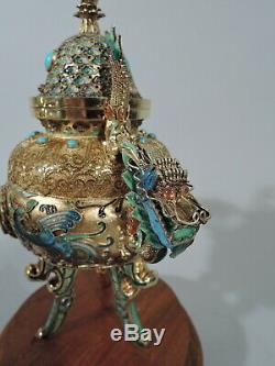 Brûleur Antique Encensoir Encens Chinois Vermeil Émail Turquoise Jade