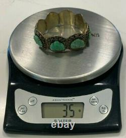 C. 1900 Chinese Or/argent Sterling 8 Panneau Jade Bouddha Bracelet Signé Bee 800