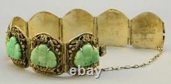 C. 1900 Or Chinois/sterling Argent 8 Panneau Jade Buddha Bracelet Signé Abeille 800