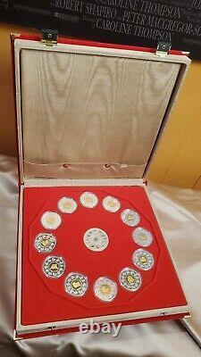 Canada 1998-2009 Chinese Lunar Calendrier Pièce D'argent Sertie D'or Rare