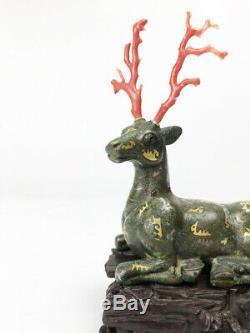 Cerf Chinois En Partie Argenté, Bronze Doré Et Corail Rouge