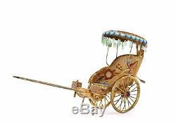 Chariot De Transport En Pousse-pousse En Jade Jadéite Sculpté Émail Chinois En Argent Doré