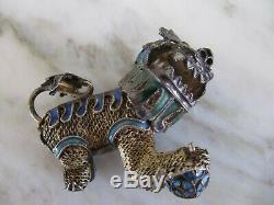 Charm Antique Chinois Lion Foo Dog Vintage En Émail Filigrane Doré