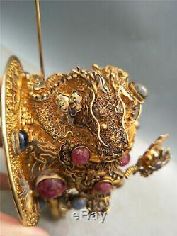 Cheveux Incrustés De Pierres Précieuses En Argent Doré Chinois Ornement Ancien Motif Ornement Dragon Royal