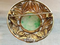 Chine Antique Jade Sculpté Broche En Gilded En Argent Sterling, Filigrane Marqués