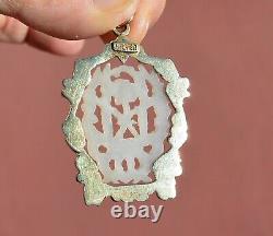 Chine Blanc Jade Carved Carving Plaque Gilt Argent Pendentif En Émanel Collier Mk