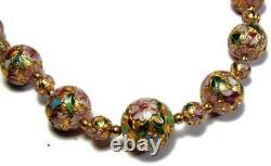 Chine Exportation Or Ov Argent Cloisonne Pink Peony Collier Collier Boucles D'oreilles Dangle