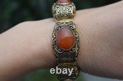 Chine Filigrane Fait Main Doré Bracelet En Argent Sterling Agate Naturelle 53g 60's