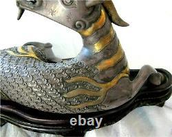 Chine Jade Doré Sterling Argent & Coraux Chiffres De Cerf Qing Antique 1513 Gr