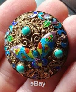 Chinese Antique D'argent En Émail Turquoise Broche Pin Deco Or Wash Gilt Filigrane