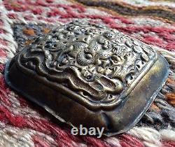 Chinese Antique Ethnique Bijoux Or Argent Bronze Plaque Cheval Pendentif Charm Vieux