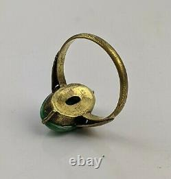 Chinese Antique Qing / Republic Jade & Gilt Ring