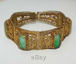Chinese Export Anciennes Jade Argent Doré / Jadéite Bracelet Marqué Chine