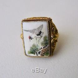 Chinese Export Vermeil Anneau Bovin Os En Bois Sculpté Peint Crane Papillon 7g