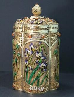 Chinese Gilt Silver Enamel Filigree Tigre Eye Iris & Bamboo Motif Box 20th C