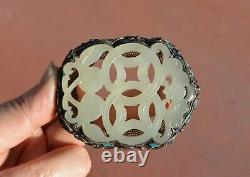 Chinese Jade White Carved Carving Plaque Gilt Silver Enamel Pin Brooch Mk De 1900