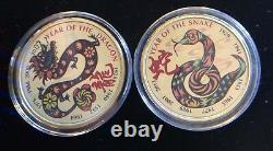 Chinese Lunar New Year Collection (11) 24k Gold Layered. 999 Ronds D'argent Fin