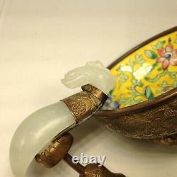 Chinese Qing Dynasty White Jade Ceinture Crochet Sur Peint Enamel Gilt Bronze Bowl