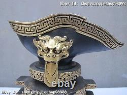Chinese Royal Bronze 24k Or Dynastie Argent-gilt Empereur Dragon Lion Wine Cup
